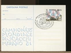ITALIA - FDC - CARTOLINA CP INTERO POSTALE - CAMPIONATO MONDIALE SCACCHI  SCHAFT - Scacchi