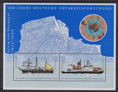 M 186) BRD Mi# 2229+2230 Bl 57 **: Gauß Geodät, Forschungsschiff GAUSS Und POLARSTERN, 100 J Deutsche Antarktisforschung - Wissenschaften