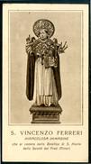 SANTINO - S. Vincenzo Ferreri - Santino Antico Con Orazione, Anno 1887, Basilica S.Maria Della Sanita' (NA) Come Da Scan - Devotion Images