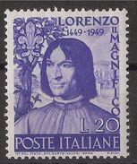 FRANCOBOLLI  Repubblica 1949 Lorenzo Il Magnifico Nuovo MNH++ - 1946-60: Mint/hinged