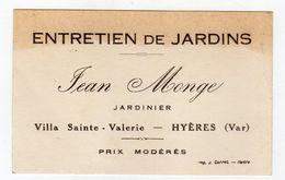 EB 200 * Carte De Visite JEAN MONGE JARDINIER HYÈRES - Cartes De Visite