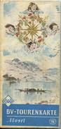 Tourenkarte Mosel 60er Jahre - 63cm X 89cm - Maßstab 1:125'000 - Rückseitig Tourenvorschläge - Herausgeber BV-ARAL AG - Landkarten