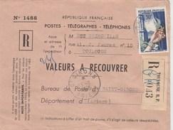 Yvert 973 Joaillerie Seul Sur Lettre Recommandée Valeurs Recouvrer TOULOUSE Haute Garonne 23/6/1956 - Briefe U. Dokumente