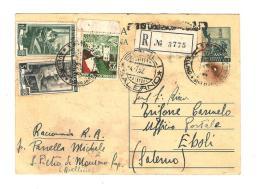 S5,COLLEZIONE STORIA POSTALE,CARTOLINA POSTALE 10 LIRE,10 + 5 LAVORO,25 LIRE TRIESTE,TRICOLORE,MISTA,AVELLINO,EBOLI - 6. 1946-.. Republic