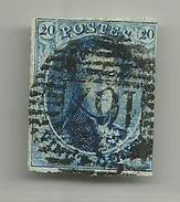 (96) Timbre Belgique Roi Léopold I Médaillon 20c Oblitération NECHIN Bureau De Percption 17 Barres Horizontales - 1849-1850 Médaillons (3/5)