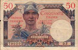 FRANCE Trèsor Français 50 FRANCS De 1947nd  Pick M8 - 1947 French Treasury