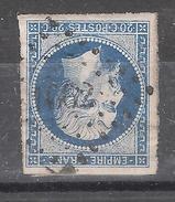 Empire N° 14 A A BLEU FONCE  Obl Pc 1662  De LASSIGNY , Oise , INDICE 7, Belles Marges TTB - 1853-1860 Napoléon III