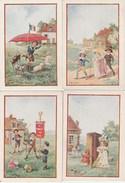 4 CHROMOS JEUX D'ENFANTS CHEVAUX BOIS COMEDIE MARIEE FANFARE - Trade Cards