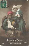 Cpa Militaire – Hymne à La France, Tirailleur & Infirmière, Croix-Rouge - Patriotiques