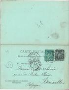 CTN46 - CPRP SAGE DREUX / BRUXELLES 3/12/1892 - Postal Stamped Stationery