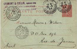 CTN46 - CP SEMEUSE LIGNEE PARIS / RIO DE JANEIRO 20/8/1904 - Postal Stamped Stationery