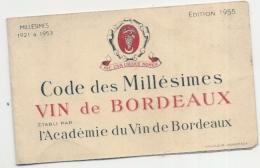 Carte Des Millesimes Des Vins   1955 Academie De Bordeaux TB - Vins Alcool Publicité - Other
