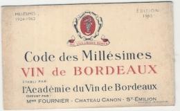 Carte Des Millesimes Des Vins   1963 Academie De Bordeaux TB - Vins Alcool Publicité - Autres