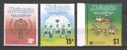 Malaysia 1979 Mi 199-201 MNH UNICEF CHILDREN - UNICEF