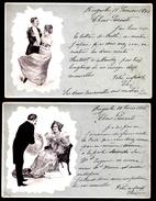 2 X CARTE VICTORIEN - 2 X VICTORIAN CARD - GALANT HOMME DONNE FLEURS ET DANSE AVEC DAME DE CLASSE - GENTLEMAN AND LADY - - Illustrateurs & Photographes