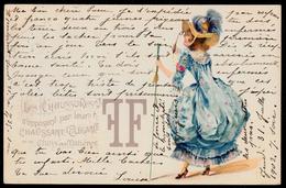 "SUPERB VICTORIAN CARD "" LES CHAUSSURES FF "" SUPERBE CARTE VICTORIENNE - MODE - SHOE - CHAUSSURE - ELEGANT LADY Lunettes - Illustrateurs & Photographes"