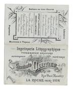 RARE ET TRES BON  ETAT CALENDRIER 1899 - F.OLLIVIER LA ROCHE Sur YON  - Imprimerie Lithographie - - Calendars