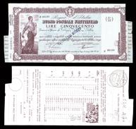 [NC] BUONO POSTALE FRUTTIFERO 500 LIRE 1941 REGNO D'ITALIA (nc1650) - Italia