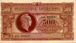 FRANCE Trésor Central 500 FRANCS De 1944nd  PICK 106 XF/SUP - Treasury