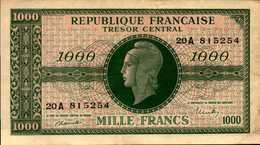 FRANCE Trésor Central 1000 FRANCS De 1944nd  PICK 107 XF/SUP - 1947 French Treasury