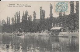 """D16 - COGNAC - REGATES DE JUILLET 1905 - TRIBUNE DU JURY ET LE """"RUY-BLAS"""" - Cognac"""
