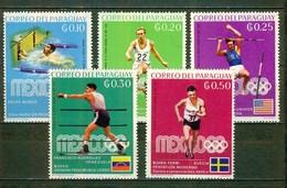 Jeux Olympiques Mexico 1968 - PANAMA - Sports: Natation, Steeple, Saut à La Perche, Boxe, Penhathlon Moderne -1969 - Paraguay