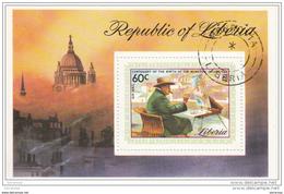 C205 Liberia 1975 Churchill Che Dipinge Foglietto Sheet Perf. Preoblt.
