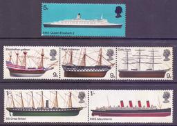 GB Scott 575/580 - SG778/783, 1969 British Ships Set MNH** - Ongebruikt