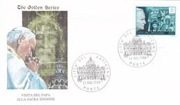 Vatikan, The Golden Series. 1998. VISITA DEL PAPA ALLA SACRA SINDONE. Mi: 1191 CSR Polen - FDC