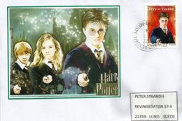 Harry Potter (Fête Du Timbre), Sur Lettre Adressée En Suède - Cinema