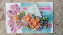 Carte Double - Bonne Fête - PAQUET CADEAU Et Bouquet Fleurs Roses Marguerites - MD PARIS Carnet Dépliant Parfumé - Unclassified