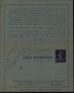 Entier Carte Pneumatique 30ct Violet Semeuse Camée Papier Bleu Date 336 17 Lignes Au Verso 42 Localités Storchp168 K5