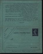 Entier Carte Pneumatique 30ct Violet Semeuse Camée Papier Bleu Date 837 16 Lignes De Texte Verso Sous Avis 20 Villes