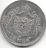 Albert I 20 Francs 1934 Flamisch Pos.B  Xf+ - 1909-1934: Albert I