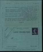 Entier Carte Pneumatique 30ct Violet Semeuse Camée Papier Bleu Date 733 14 Lignes De Texte Au Verso Ss Avis 19 Villes