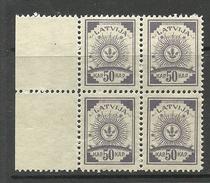 LETTLAND Latvia 1920 Michel 49 In 4-block + Bogenrand MNH - Lettonie