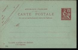 Entier Carte Postale CP Avc Réponse Payée Mouchon Retouché 10 Cts Carton Bleu Vert Date 221 Storch D6 P125 Cote 45 Euros - Standard Postcards & Stamped On Demand (before 1995)