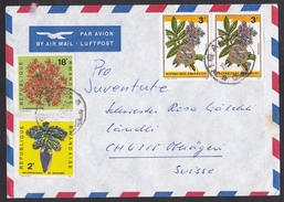 Rwanda: Airmail Cover To Switzerland, 1970, 4 Stamps, Flowers, Medicine, Asclepius (damaged, See Scan)