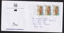 Rwanda: Cover To Netherlands, 1998, 3 Stamps, Nutrition Conference, Cow, Milk, Farmer (traces Of Use)
