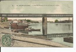 CHALON SUR SAONE    Le Pont Des Dombes Et Vue Générale Sur La Saône,péniche (Fournier) Colorisée - Chalon Sur Saone