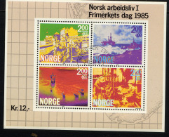NORVEGE 1985, La Norvège Au Travail, 1 Feuillet De 4 Valeurs, Oblitéré / Used. R188
