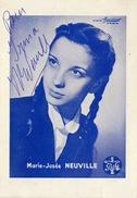 Autographe De Marie Josée Neuville