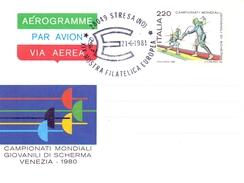 STRESA (NO) MOSTRA FILATELICA EUROPEAN AEROGRAMME WORD CHAMPIONSHIP VENEZIA 1981 (GEN170058) - Scherma
