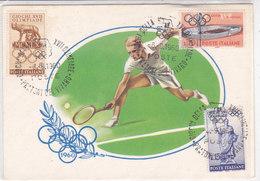 CARD TENNIS GIOCHI DELLA XVII OLIMPIADE ROMA PRATONI DEL VIVARO PRIMO GIORNO D'EMISSIONE OLIMPIADI -FG-VDB-2-0882 -26790 - Tennis