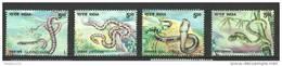 INDIA, 2003, Nature India - Snakes, (Python, Pit Viper, King Cobra Gliding Snake),Set 4 V,  MNH, (**)
