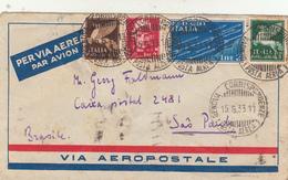 Genova Per San Paulo, Brasile. Cover 1933 - 1900-44 Victor Emmanuel III