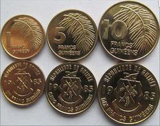 GUINEA FRANCESE SERIE 3 MONETE 10-5-1 FRANCS FDC UNC - Guinea Francese