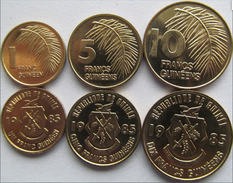 GUINEA FRANCESE SERIE 3 MONETE 10-5-1 FRANCS FDC UNC - French Guinea