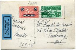 SUISSE CARTE POSTALE PAR AVION DEPART YVERDON 29 VIII 36 POUR LA FRANCE - Posta Aerea