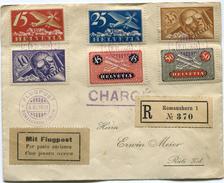 SUISSE LETTRE RECOMMANDEE CHARGEE PAR AVION DEPART ROMANSHORN 9 VI 1924 POUR LA SUISSE - Posta Aerea